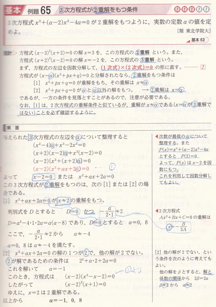 貼付ファイルについてお尋ねします。 解説[2]x²+ax+2a=0の解の1つが2で、他の解が2でない。 とありますが、他の解とは、(x+1)=0 すなわち、x=-1ということでしょうか。