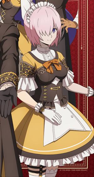 ココスとコラボしたマシュ(FGO)の衣装のスカートをコスプレで再現するには? . この画像は、Fate/Grand Orderがファミリーレストランココスとコラボ した際のマシュ・キリエライトですが、 画像を見てもらってわかる様に、このマシュちゃんはスカート部分が フワッと膨らんだデザインのウエイトレス風な衣装を着ていますよね。 そこで思ったのですが、 この衣装のマシュ・キリエライトのコスプレをするとしたら、 この膨らんだ形状のスカートはどうやって再現すればいいでしょうか? どうすればこのお椀の様な丸いシルエットを保てるのでしょうか? また、この大きくふくらんだスカートの下には、 どんなパンツを履けばいいと思いますか?