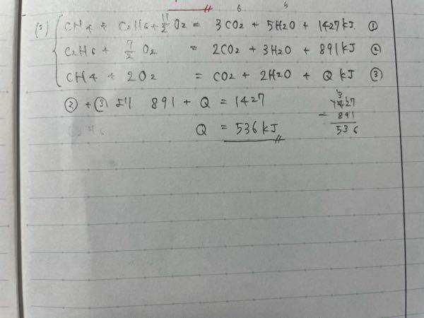 高校化学 熱化学方程式の分野の質問です。 メタンCH4とエタンC2H6の混合気体Aを0℃, 1.0×10^5 Paで22.4Lとり, 完全燃焼させると, 3.2molの酸素が消費され 1427kJの熱が発生したメタンの燃焼熱を891kJ/mol として,次の問いに答えよ。 ただし、 生成する水は液体とする。 (1) 混合気体A中のメタンとエタンの物質量比を求めよ。 (2) エタンの燃焼熱を求めよ。 答え(1) 1:4 (2)1561kJ の(2)で(1)で求めたモル比を使わずに求めたのですが、写真の通り答えが違いました。 どうすればあってたのか、また考え方の時点で間違ってたのか、教えて欲しいです。