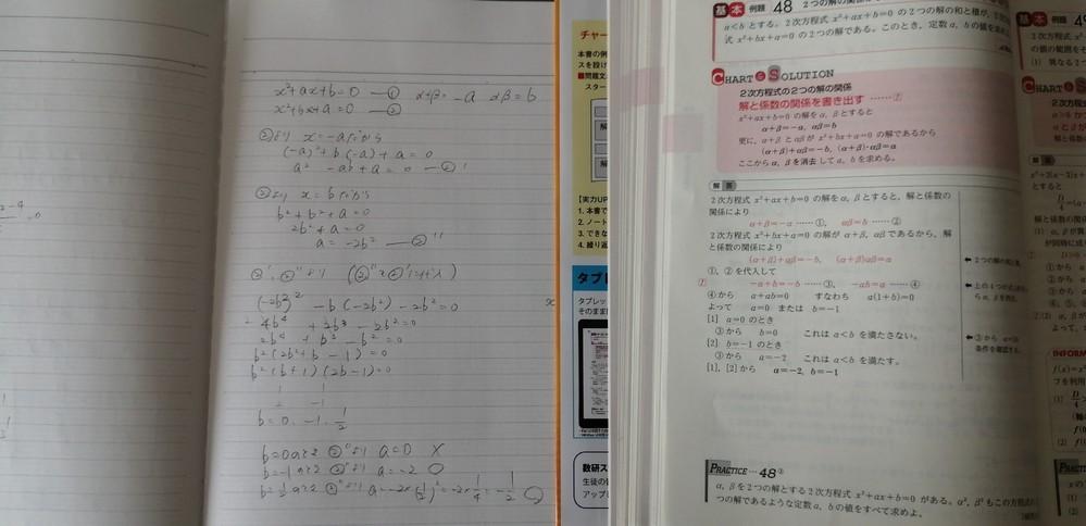 黄色チャート数2 P76 例題48 「問」a<bとする。2次方程式 x²+ax+b=0 の2つの解の和と積が、2次方程式 x²+bx+a=0 の2つの解である。このとき、定数a、bの値を求めよ 解の和と積を直接代入して求めたところ、a=-1/2、b=1/2という解が出てきました。 この値を代入しても成り立つと思うのですが、解答にはその答えは無く間違いだと思いますが、どこが間違いなのかわかりません。 教えていただけませんでしょうか