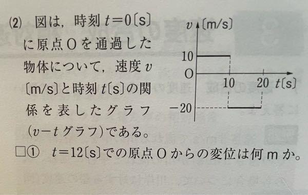こちらの問題が解説を見てもわからないので教えて欲しいです。 解説には、 「グラフより、t=0〜10[s]の10s間は速度+10m/sで進むので、+10×10=+100[m]進む。 t=10〜12[s]の2s間は速度-20m/sで進むので、-20×2=-40[m]進むことになる。 よって、(+100)+(-40)=+60[m]」 と書いてあります。 t=10〜12[s]の2s間が速度 -20m/sにどうしてなるかがわかりません…。