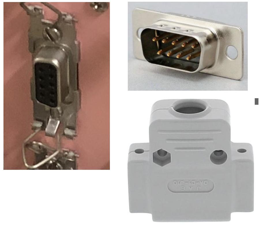 電子工作の初心者です。 現在、D-subコネクタのケーブルを作成しており、写真の左図のような9pinのDsubにうまく接続できるようなコネクタカバーを探しています。 現在は、右上図のようなコネクタをケーブルに接続し、右下図のようなカバーをつけているのですが、これでは爪で固定できないため、別のカバーを探している最中です。しかし、どのようなカバー(?)を用いれば爪に合うのかわかりませんでした… 参考になるurlなどを教えていただければ幸いです。