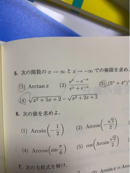5.⑷についてです。有利化して解いていくと思うんですけど、+∞-∞両方とも3/2になります。答えは3/2,-3/2です。やり方が悪いのでしょうか?