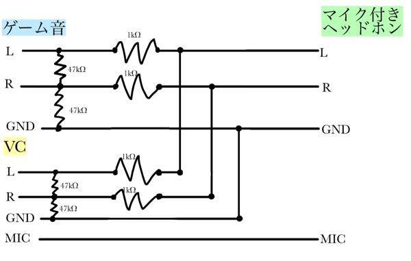 100枚です ゲーム音とスマホの電話をミキサーしたいのですがこの回路図で大丈夫でしょうか? 自分は電子工作初心者なのでネットのブログを参考にしたりして書いてみたのですがこの図で正常に動作しますで...
