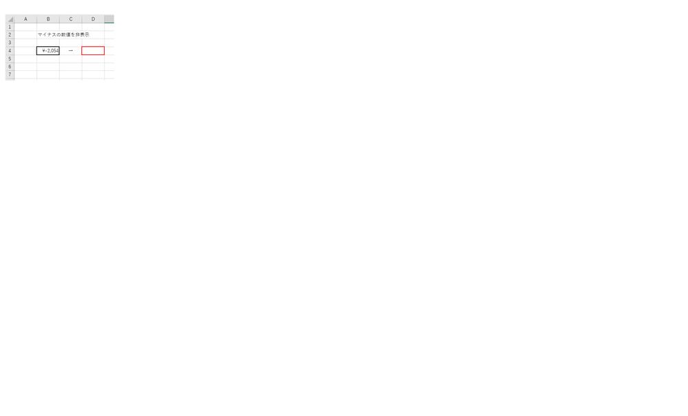 合計等の数値が(マイナス:-)の場合を数値そのものを非表示にする方法を教えてください。 (例:B4:-¥2.054 → D4:を非表示)よろしくお願い致します。