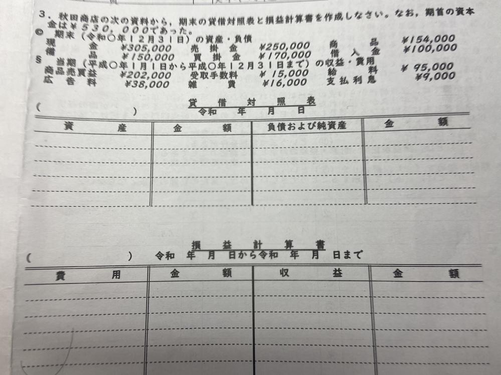 簿記 高校 至急ですm(_ _)m 写真の問題の記入の仕方?計算の仕方を簡単に教えてください