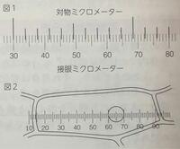 高校一年生の生物基礎の問題です。 図2は同じ倍率で玉ねぎのりん葉の表皮細胞の核を観察した様子です。 角の直径は何ミクロメーターか。  という問題で、この細胞の直径は、接眼ミクロメーターの10目盛り分である。 というのが答えなのですが、10メモリとはどこを見たらわかるのでしょうか? 図2の丸で囲まれている部分のことでしょうか?  教えてください。