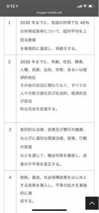 sdgsについて質問です。 今大学でsdgs10の「人や国の不平等をなくそう」のレポートを書かなければなりません。 私が書こうとしてる内容は、 外国籍で永住権を持っていて日本に住んでいるのに選挙権がないのは不平等について書こうと思います。これはsdgs10に当てはまりますか?それとも違いますか?