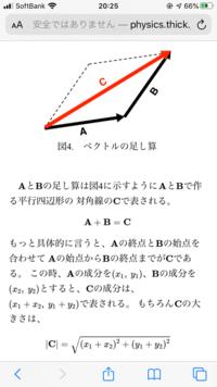 ベクトルの絶対値について。 添付画像の1番下のベクトルCの絶対値の計算のように、直角三角形ではないのにベクトルの絶対値を三平方の定理を利用して求めることができるのでしょうか?