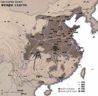 ウィキペディアに載ってた秦の版図 この矢印部分はなんなんですか?  レソトみたいに秦の中に別の国でもあったんでしょうか。  あと南の方、やたら飛地なんですけどこんな変な征服の仕方してたんでしょうか。