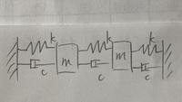 振動工学の問題です。写真の図の1次固有振動モードに10%の減衰を付加するとき粘性減衰係数cってどうやって求めたらいいでしょうか? 運動方程式を立て行列表示にし、モード質量、剛性、減衰を求め、これらから1次のモード減衰比を求めると0.50c/√mkとなりました。ここからどうすればいいか教えてくださると幸いです。よろしくお願いいたします。