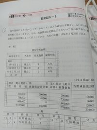 簿記3級の問題集で、写真の問題なのですが、アの答えが1,268,000だそうで、 なぜ備品Aが☓4年4月1日時点で500,000なのか、わかりません。 3年分減価償却した価格ではないのでしょうか。