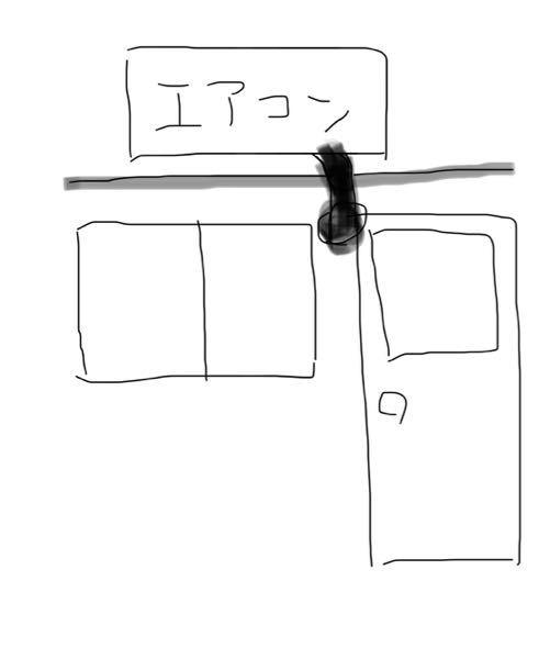 自宅の窓がこういう形状なのですが、カーテンの長さや形はどうするといいと思いますか? カーテンレールは2本あって、どちらもエアコンホースが被さっています。 エアコンホースは上半分だけの窓とベラン...