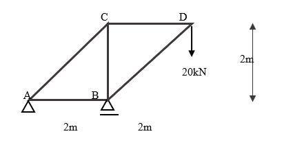 構造力学詳しい方教えてください 軸力計算 AB:_kN AC:_kN BC:_kN BD:_kN