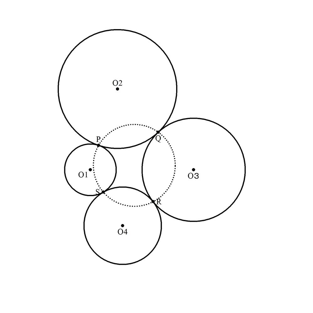 図のように、4つの半径の異なる円O₁、O₂、O₃、O₄ (半径r₁、r₂、r₃、r₄)がリング状に隣同士接しながら 並んでいます。 接点を順にP、Q、R、Sとするとき、 (PQ・PS):(SR・QR)=r₁r₂/(r₁+r₂):r₃r₄/(r₃+r₄) 証明してください。 (創作問題95)