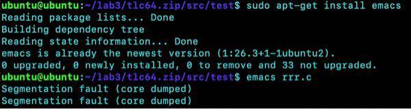 pcに接続したラズパイ上でemacsを用いて、c言語ファイルの添削を行いたいのですが、emacs ファイル名.cのコマンドを打ってエディタを立ち上げようとすると、コアダンプと出力されてしまいます。 画
