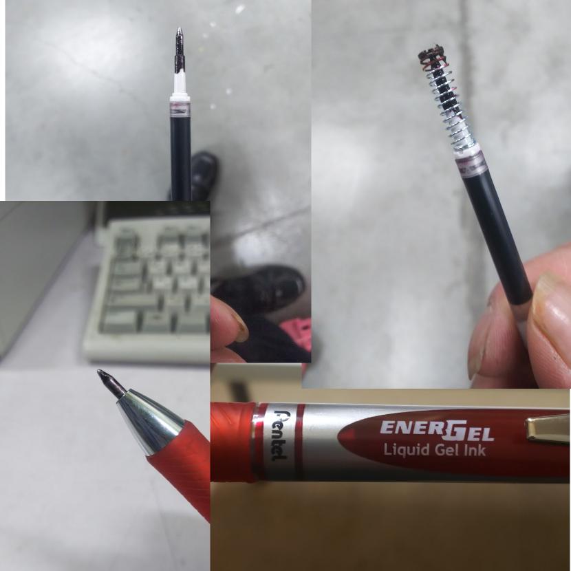 エナージェルゲルインキのボールペンを使っているのですが、半分くらい使うと、いっつもペン先がインクまみれになってしまいます。 保管は、ズボンのポケット、会社着の袖のペン入れに入れていつも使っています 赤色と黒色をいつも使うのですが、どちらもペン先がインクまみれになってしまいます 原因は何が考えられますか? 手にも付くし、書類にもインクがついてしまって困ってます 常時ポケット、ペン入れに入れているため ポケットもインクまみれになります