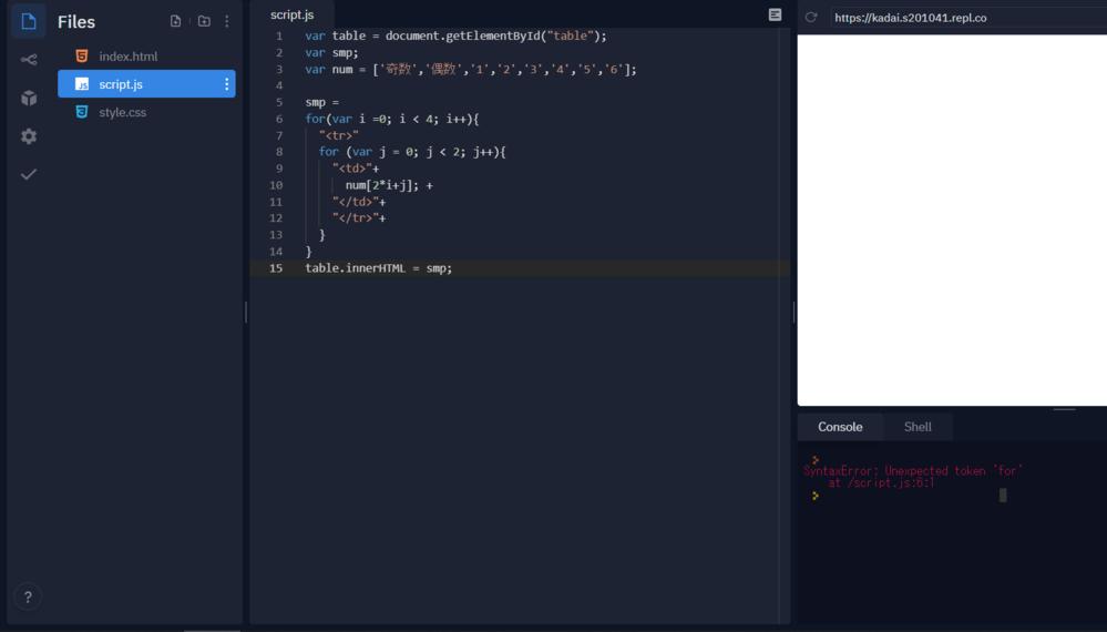 javascriptのプログラミングについて質問です。 replでこのようなプログラムを書いたのですが、エラーになってしまいます。 エラーメッセージを見た限りfor文に間違いがあると思うのですが、どのように修正すればよいかわからないので教えてください。