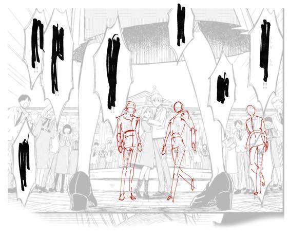 背景に人物を置けません。 漫画の一コマをお借りして、人物を配置してみたのですが、ちょっと左向きだったり、右向きだったりすると、肩の角度が分からなくなります。 真ん中の赤の人物の肩の角度など、急な...