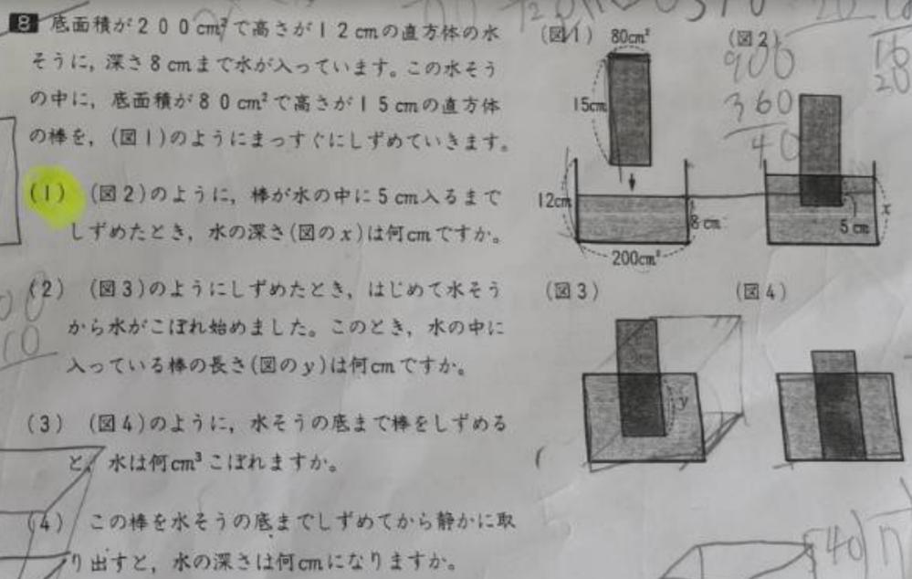 中学受験の体積と容積の問題です。 底面積が200㎠で高さが12㎝の直方体の水槽に、深さ8㎝まで水が入っています。 この水槽の中に、底面積が80㎠で高さが15㎝の直方体の棒を(図1)のようにまっす...