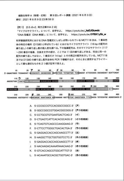 DNA鑑定に詳しい方で、この問題を教えて頂けると助かります。