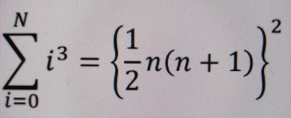 Pythonを使った、 画像の計算式を用いた2通りの方法(左辺と右辺の計算した結果)を表示するプログラムを教えてください Nの値を変更することで実行結果を変更できるようにしてくれるとありがたいです。
