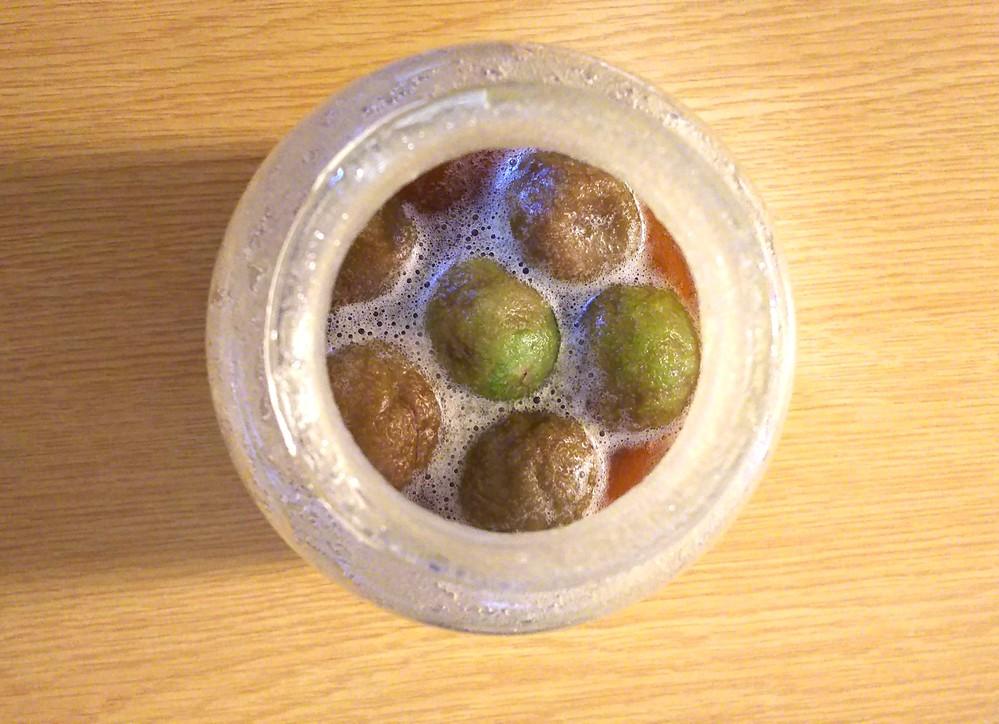 梅シロップについて教えてください!! 初めて梅シロップ作りに挑戦しています。 試しに青梅6個を三温糖に漬けているのですが、今日で3日目、砂糖は溶けているようですがドロドロしており、泡が浮いている状態です。 梅は茶色くなったものと、青いままのものが混ざっています。 そこで質問です。 ①このまま常温で保存しても大丈夫でしょうか。 その場合、後何日程度を目安に完成となりますでしょうか? ②泡が出ているということは発酵しているということでしょうか。 飲んでも問題はないでしょうか? 長文になってしまい恐縮ですが、どなたかお詳しい方からアドバイス頂ければ幸いです。 何卒よろしくお願いいたします。