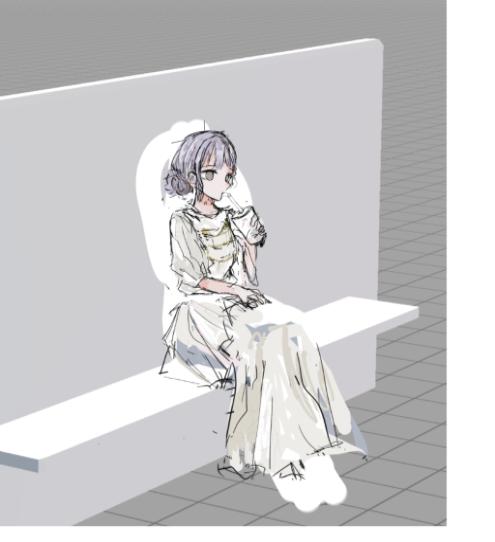 座っているイラストを描きたいのですが、パースこれであってますか?