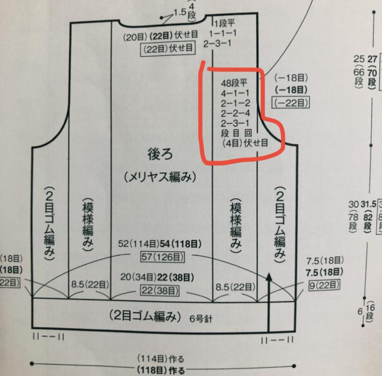 前あきベストの編み方について教えてください。 日本ヴォーグ社の『毎日着たいメンズニット』に載っているNo.22 前あきケーブルベストの編み方が分かりません。 袖ぐり、衿ぐりの減らし目は2目以上の減らし目は伏せ目、1目の減らし目は端1目立てる減らし目にする。と記載があります。 写真赤枠の袖ぐり部分ですが、最初は2段ごとに3目を1回減らし目(2目以上なので伏せ目)とのことですが、その下に記載されている (4目)伏せ目 とはどう言うことでしょうか?? また、端1目立てる減らし目もよく理解していません。 今まで独学でセーターやカーディガンを編んできましたがこのような書き方は初めてなので、基本中の基本なのかもしれませんがご存知の方、教えてください。
