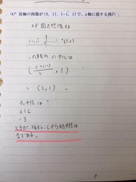 高校数学3の曲線についての問題がわかりません。 『次の条件を満たす二次曲線の方程式を求めてください。』 途中まで分かったのですが、写真のマーカー部分がわかりません。