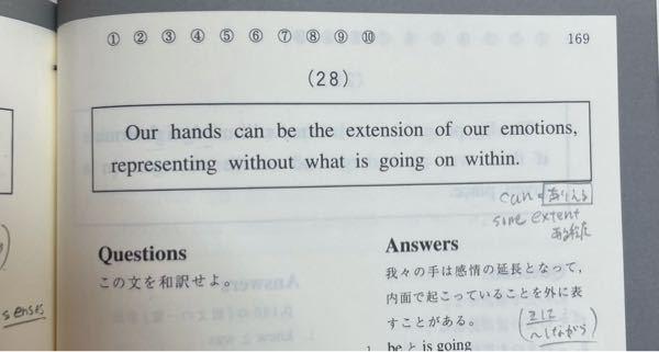この文のrepresentingからの分詞構文の部分と訳がしっくり来ません。 representing→そして、表す without→なしに? what is going on within →内面で起こり続けてること? この文の関係詞whatの扱い方が分かりません。 主語ですけどどんな感じに訳せばかいいのでしょうか? is going on within というのも、直訳で内でし続ける? withinは副詞ということなんですけど、どのように訳すのでしょうか? withoutも訳との関係にしっくり来ないです。 解説していただけるとありがたいです。 乱文失礼しました。