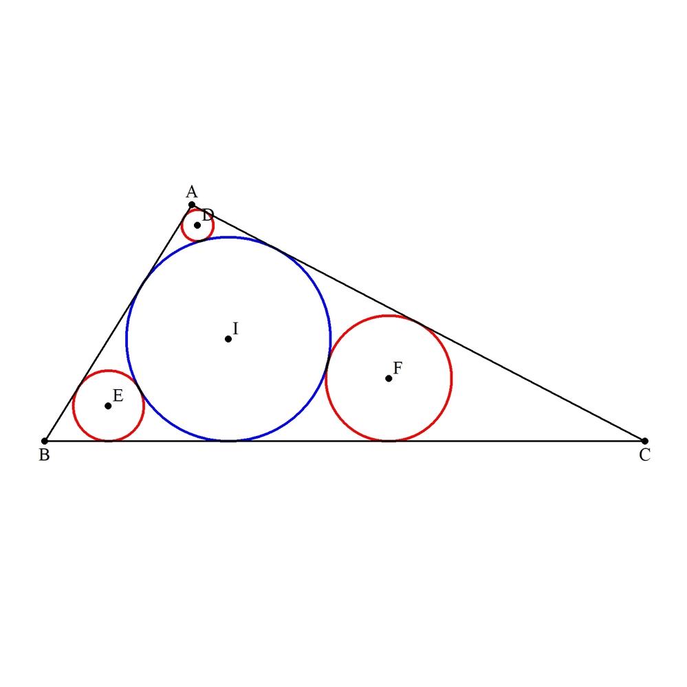 △ABCの内接円をI、半径を1とします。 図のように、△ABCの内部にあり、 二辺AB、ACと内接円に接する円をD、 二辺BC、BAと内接円に接する円をE、 二辺CA、CBと内接円に接する円をF、 (円Dの半径):(円Eの半径):(円Fの半径)=4:9:16 とします。 このとき、円Dの半径を求めてください。 (創作問題96)