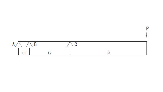 連続梁のはね出しについて 画像のA,B,Cの地点それぞれの反力を求めたいのですが求め方と計算式を教えてください。 よろしくお願いします。