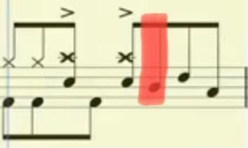 ドラム譜についての質問なのですが、この赤でマーカーを引いたヘ音記号で言うレの音はどこを叩けばいいんでしょうか?