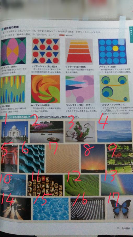 美術の資料集なのですが下の17枚の写真がそれぞれ シンメトリー リピテーション グラデーション アクセント リズム ムーブメント コントラスト バランス、アンバランス のどれに当たるのを教えてください