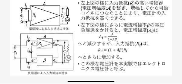 物理の電子回路の電圧負帰還と電流増幅率、電圧増幅度の問題です。以下の写真で入力抵抗Rifが(1+Aβ)倍されるのはどうやって示せば良いのでしょうか?