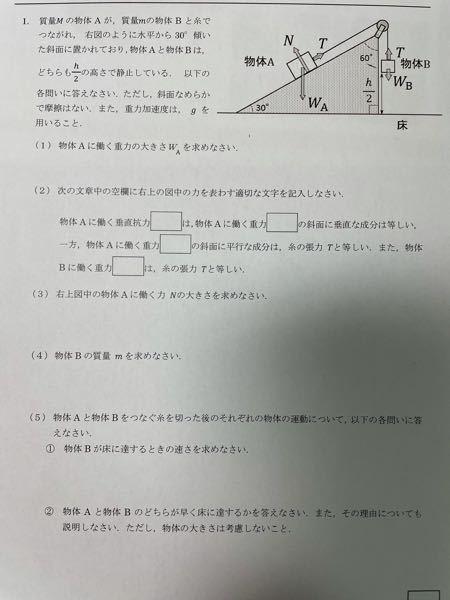物理学の質問です。下の写真の問題を解ける方いらっしゃいませんか?全然分からなくて、、 どなたか解ける方がいたら教えてほしいです よろしくお願いします。