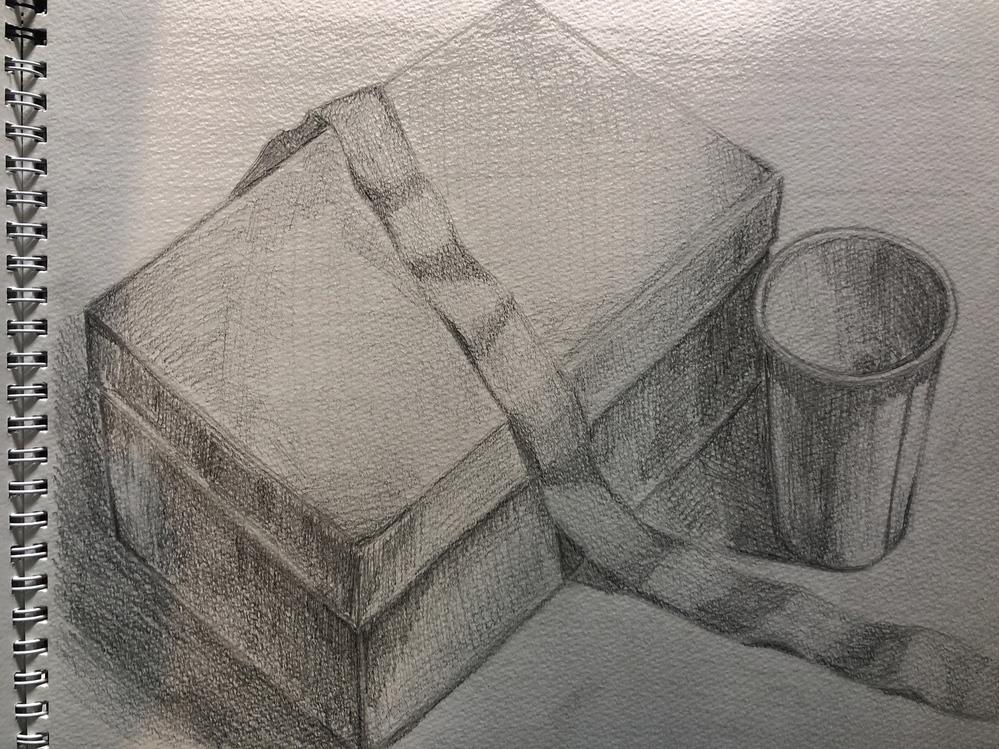 デッサンの指摘お願いします。 絵は好きでしたが趣味程度のイラストしか書いたことがなかったので、デッサンはほぼ初心者です。デッサンの練習をし始めてから約1週間での作品です。 1時間20分で完成しま...
