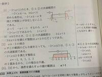 青チャート 数学Ⅰ p.178 練習111 続きです。  解説を読んでも理解できないのですが、   [1]a>-3の場合 において、  図で、-aが-1と-2の間に来るのは何故ですか?   また、  [2]a≦-3の場合 において、  「aがこの範囲のどんな値をとっても、-2<x≦3 は、①と③の共通範囲である。」の意味がわかりません。   それを踏まえて、この問題の解説をお願い...