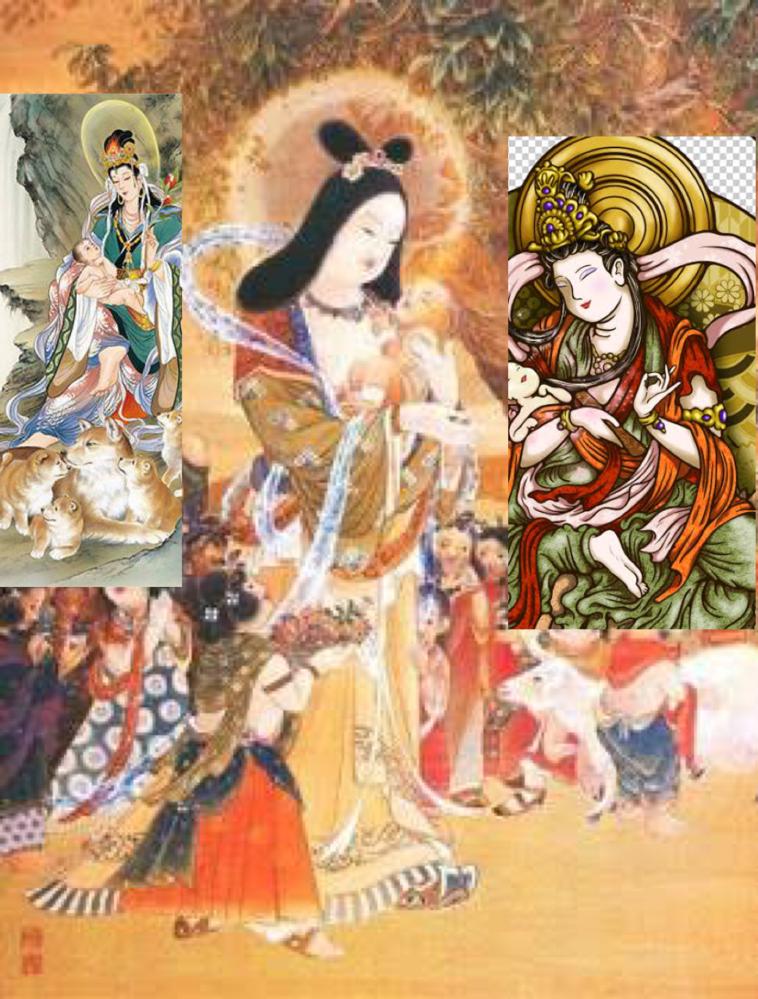 仏教・鬼子母神という神がまつられていたり、手を合わせる人がいる訳ですが、 画像にある鬼子母神の後頭部にある丸い円がございますが、これは太陽を表現したものでしょうか?