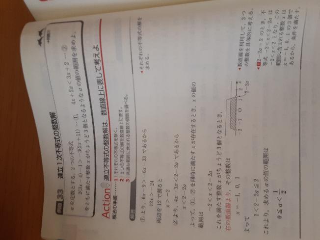 この問題の、1<2−2a≦2という部分ですが、もし1<2−2a<2だったらどのように違くなるのか教えてくだい!