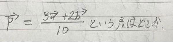 ベクトルの問題です!お願い致します! ※ベクトル記号は省略します。 p=3a+2b/10という点pはどこにあるか。