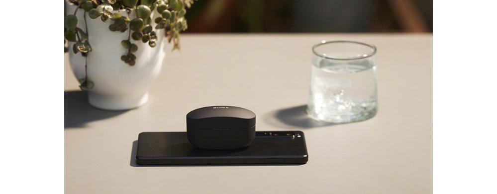 Sony WF-1000XM4のページにある以下の画像でイヤホンの下においてあるものは何でしょうか? 可能であれば製品名なども教えていただけると幸いです. 参考: - https://www.sony.jp/headphone/products/WF-1000XM4/