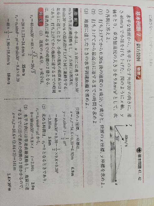 物理の斜方投射についてです。 V₀sinθって何を表しているんですか? Y=V₀sinθ×t-2分の1gt²って式なんですけど… 40sin30°です。