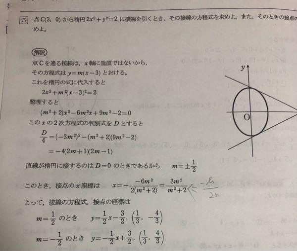 数学 最後のy=の式とその座標はどのようにして求めたのですか?