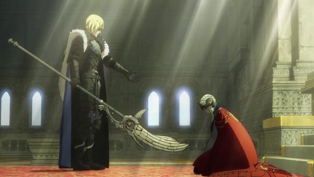 FE風花雪月のこのシーンなのですが、 短剣をディミトリに刺した後にエーデルガルトは倒れましたが、これは主人公が剣を抜いて殺したのでしょうか?それとも、自然に死んだのでしょうか