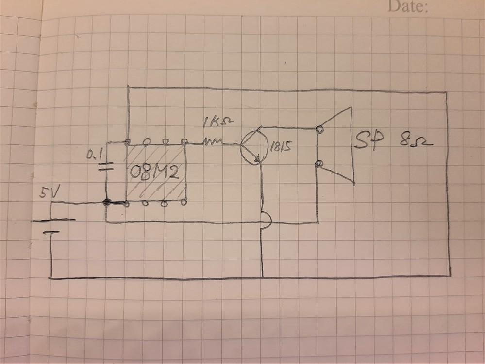 PICAXEを用いたオルゴールを作っています。 画像のように作ってみました。 一応動くことは動くのですが、使用しないピンとGNDの間に22KΩとかの抵抗を入れた方がいいのでしょうか? また、電...