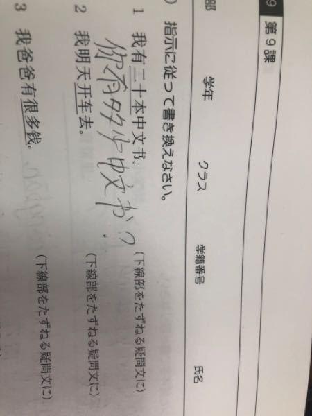 中国語の質問です。 ⑴なのですがこれであっていますか? 私は何冊の本を持っていますか?としたら意味がわからないので「あなた」にしました。