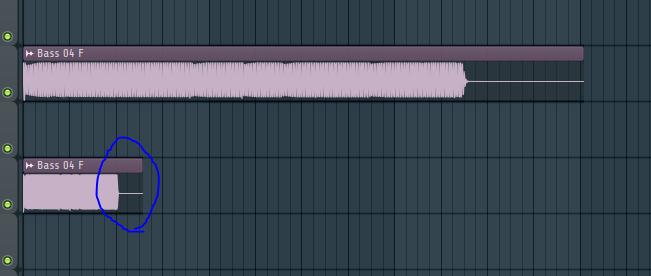 FL studio の操作について質問です。 画像の青い丸の個所を→へドラッグするっと 普段なら音がないので空白なのですが 画像のように引き延ばされてしまいます これは設定のどこを変更すれば元に戻るでしょうか?