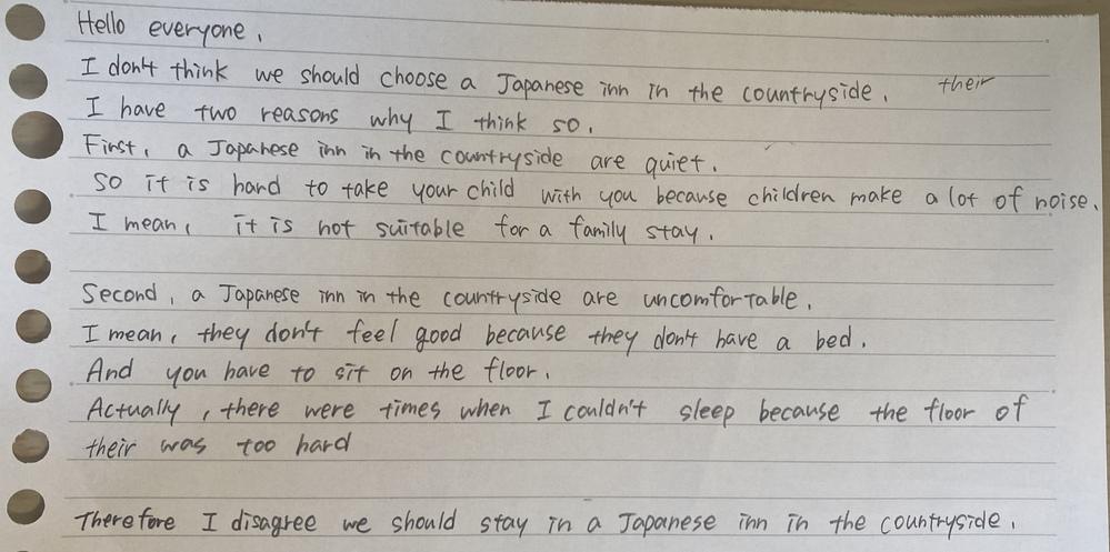 高校の英語の授業で発表をします japanese inn 日本の旅館の悪い部分を1分ほどで説明するのですが、文の添削をお願いします 文法だけでなく内容がおかしいなどの意見も聞きたいですよろ...